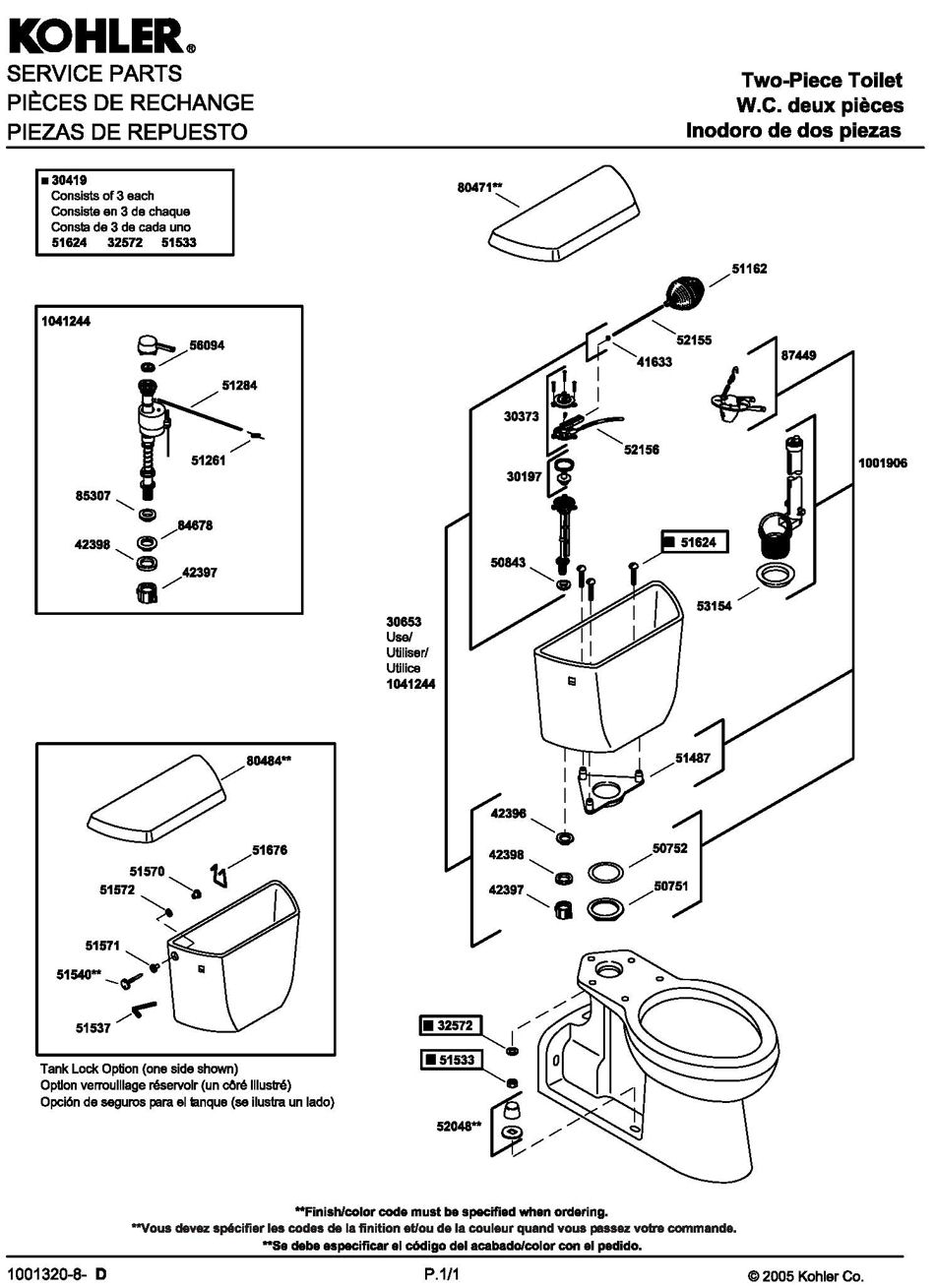 ToiletPro.com Parts Breakdown For Kohler 4519 Toilet