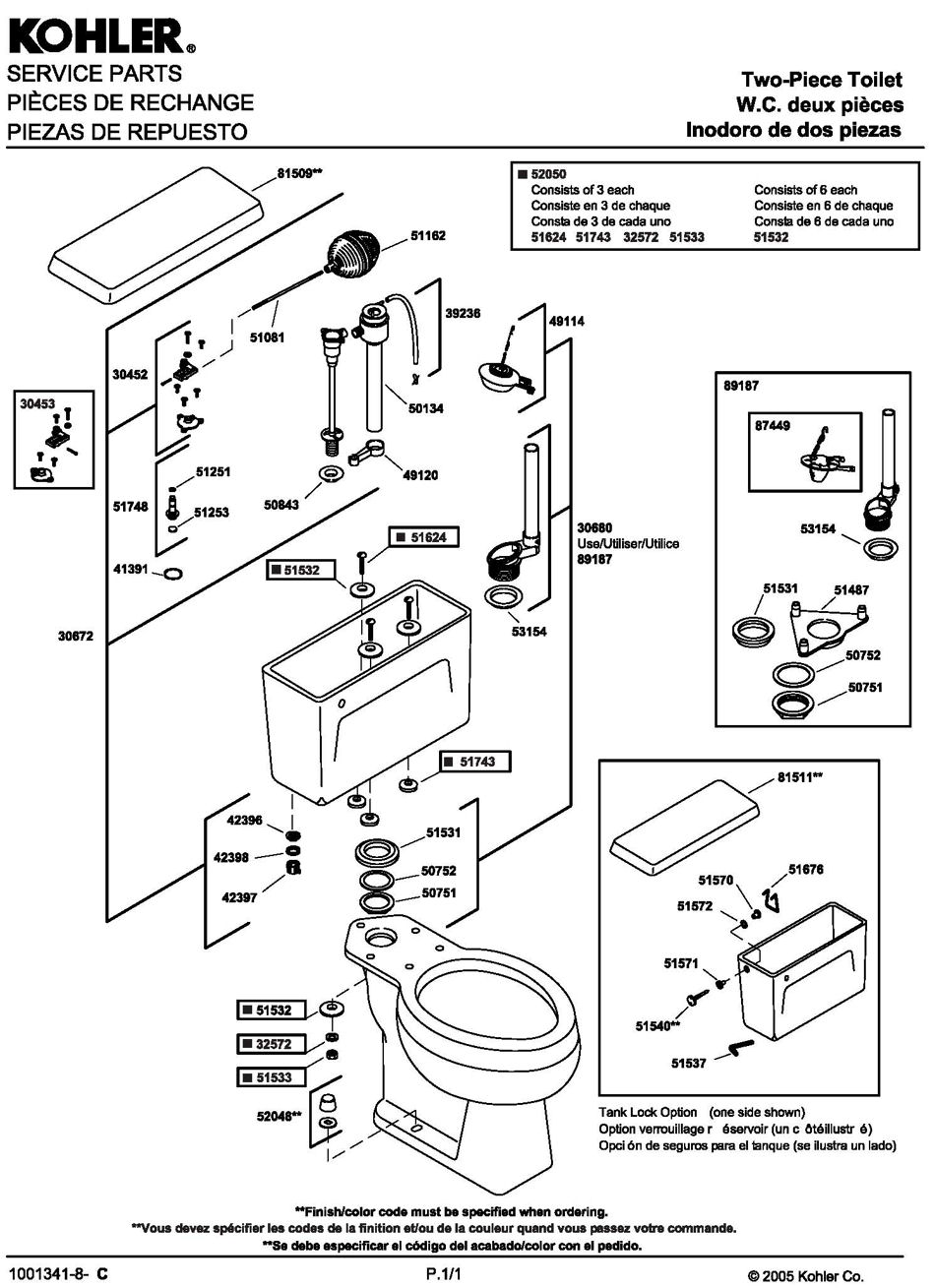 ToiletPro.com Parts Breakdown For Kohler 4520 Toilet